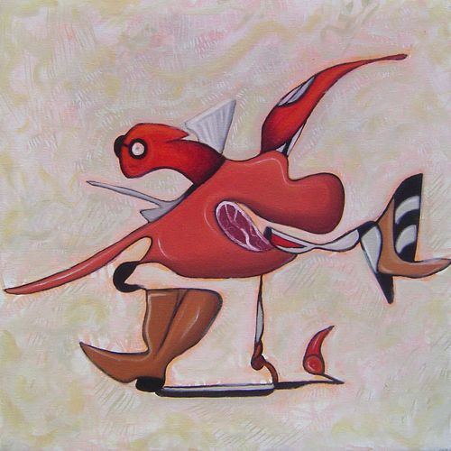 Pintura contemporánea ,Red runner Técnica óleo sobre tela Medidas 61x61cm Disponible
